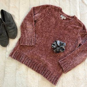 Orvis dusty rose chenille pullover crewneck sweater
